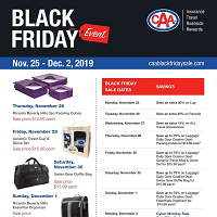 CAA Black Friday November 25 - December 2 2019