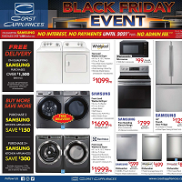 Coast Appliances Black Friday Event November 14 - December 11 2019