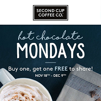Second Cup Flyer Black Friday November 17 - December 9 2019