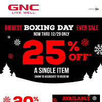 GNC Flyer Boxing Day Sale December 26 - 29 2019