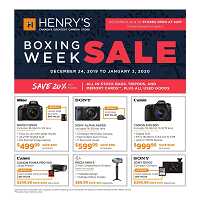 Henry's Boxing Week Sale December 20 - January 2 2020