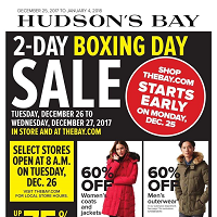 Hudson's Bay Flyer Boxing Day Sale December 25 - January 4 2018