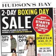 Hudson's Bay Flyer Boxing Day Sale December 25 - 27 2018
