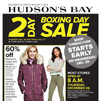 Hudson's Bay Boxing Day Sale December 25 - January 5 2020