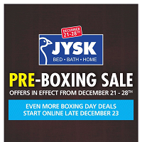 JYSK Boxing Week Sale December 29 - January 3 2018