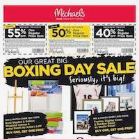 Michaels Flyer Boxing Day Sale December 26 - January 3 2019