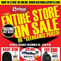 National Sports Entire Store Sale December 26 - January 4 2018