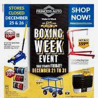 Princess Auto Flyer Boxing Week Event December 21 - 31 2018