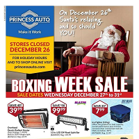 Princess Auto Boxing Week Sale December 27 - 31 2017