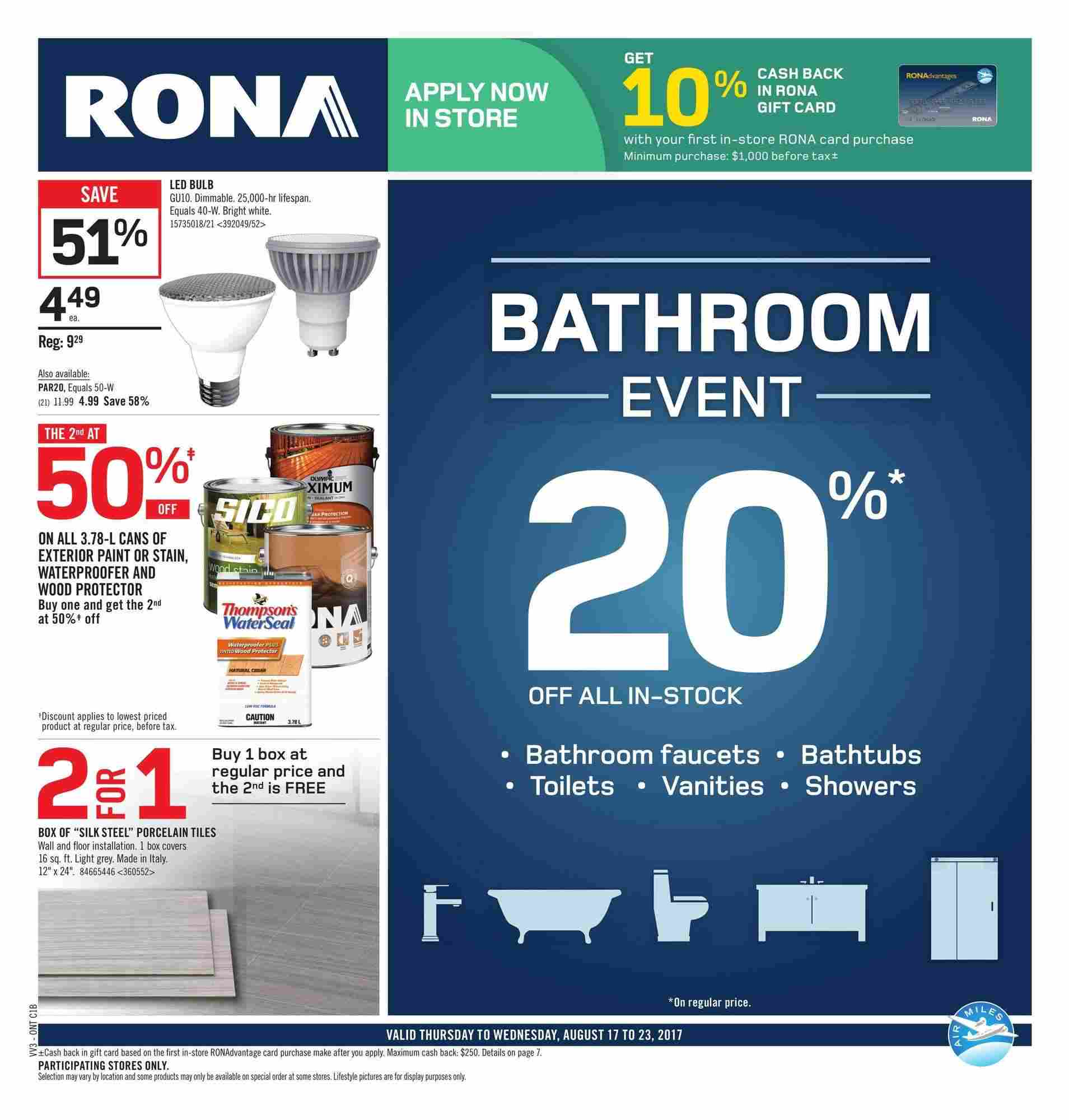 RONA Flyer (ON) August 17 - 23 2017