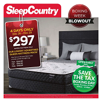 Sleep Country Canada Boxing Week Sale December 27 - 29 2017