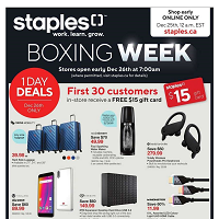 Staples Canada Boxing Week December 26 - 31 2019