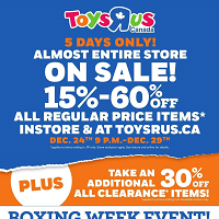 Toys R Us December 24 - January 8 2020
