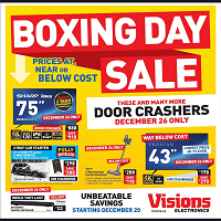 Visions Electronics Boxing Day Sale December 24 - 26 2019