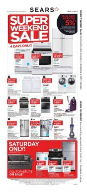 Sears Flyer Super Weekend Sale For Your Home January 12 - 15 2017