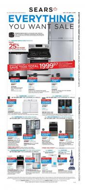 Sears Flyer Everything You Want Sale For Your Home January 5 - 11 2017