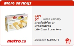Metro Coupons Save $1 on Irresistibles Crackers