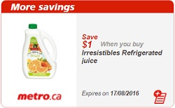 Metro Coupons Save $1 on Refrigerated Juice Aug 11 - 17