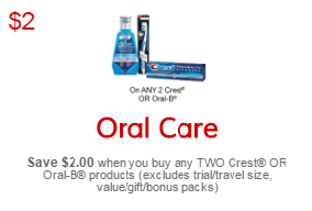 No Frills Printable Coupon Save $2 on Oral-B Products