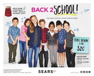 Sears Flyer Back 2 School Sale Aug 2017