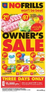 No Frills Flyer Owners Sale 11 Sept 2017